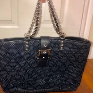 NWT Ann Taylor large navy W/ gold accent purse